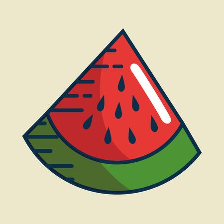 watermelon fresh fruit handmade drawn vector illustration design Illustration