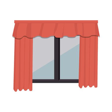 courtain: cute windows with courtain vector illustration design Illustration