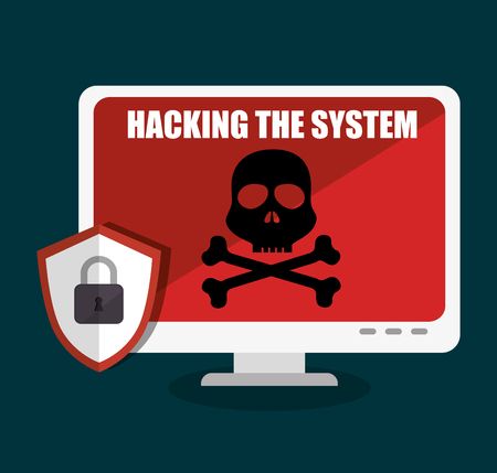hacking: hacking the system concept icons vector illustration design Illustration