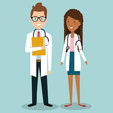 medical staff group avatars vector illustration design