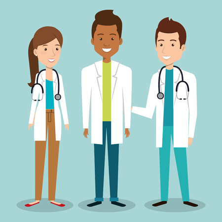 personal médico grupo avatares ilustración vectorial diseño