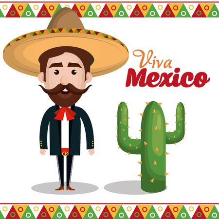 Viva Mexico manifesto icona illustrazione vettoriale progettazione