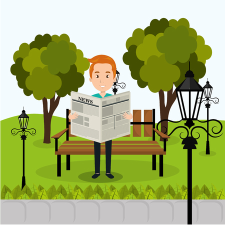 person reading on the park vector illustration design