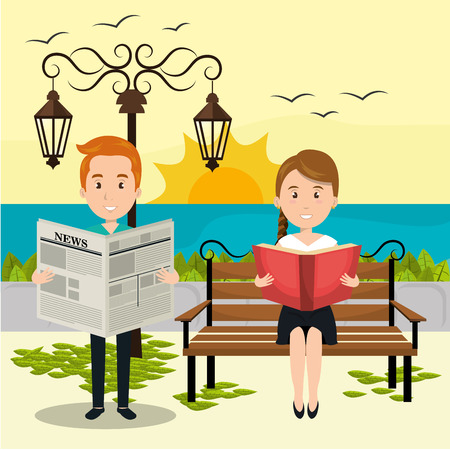 people reading on the park vector illustration design
