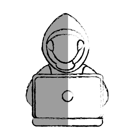 monochrome blurred contour with hacker faceless and laptop vector illustration Illustration
