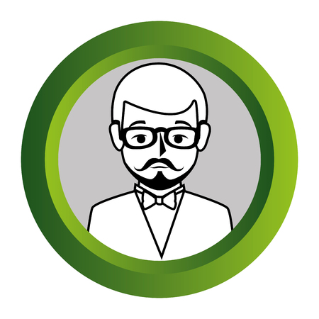 bussinesman: color frame with monochrome contour of half body man formal style with mustache vector illustration