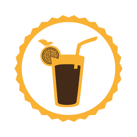 circular frame with cocktail drink with lemon slice vector illustration Illustration