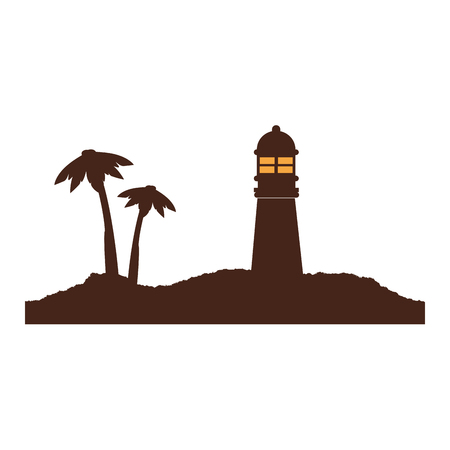 color silhouette of island with lighthouse and palm trees vector illustration Illustration