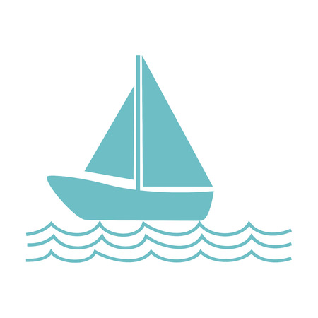 monochrome silhouette with sailing boat on the waves vector illustration