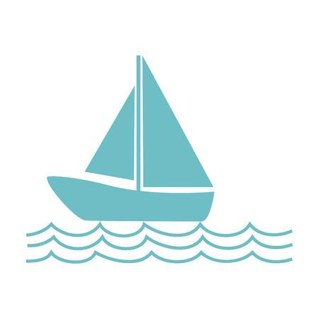 zwart-wit silhouet met zeilboot op de golven vectorillustratie