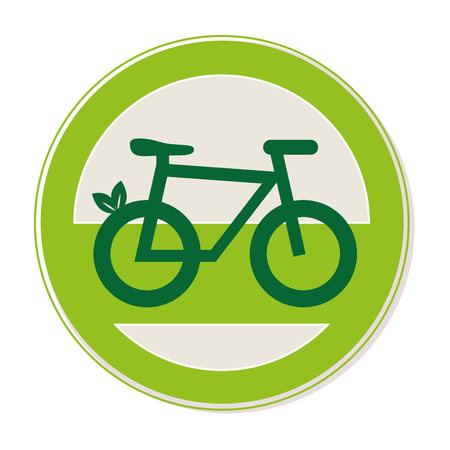 circular emblem with eco bike vector illustration
