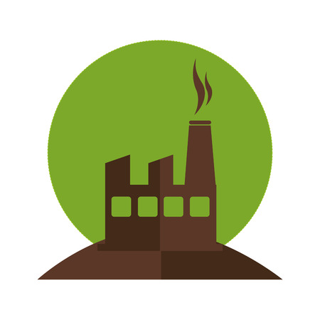 color silhouette with factory and smoke contamination vector illustration Illustration