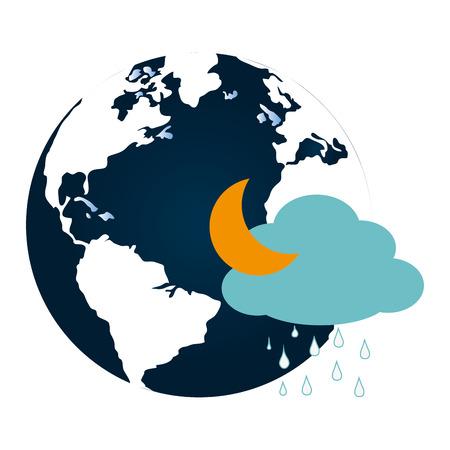 colorful earth world map with cloud and half moon vector illustration