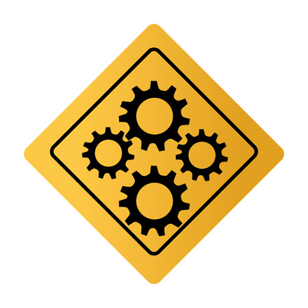 ring road: color square road sign with gear wheels vector illustration Illustration