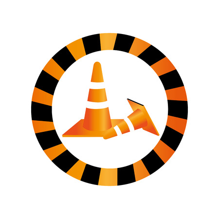 color circular road sign with traffic cone with lines orange and white vector illustration Illustration