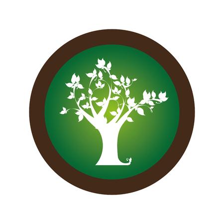 arboles frondosos: decorative circular stamp with leafy tree plant vector illustration Vectores