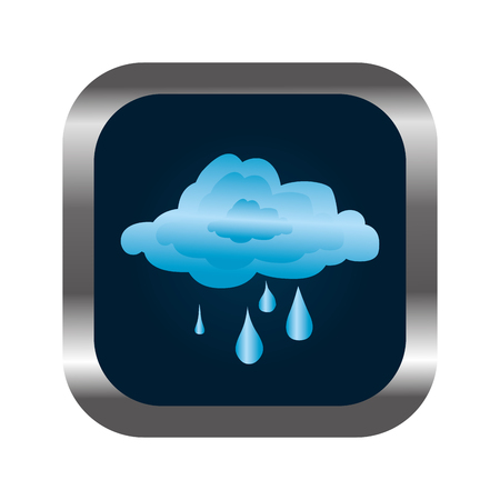 square button with relief and rainy cloud vector illustration