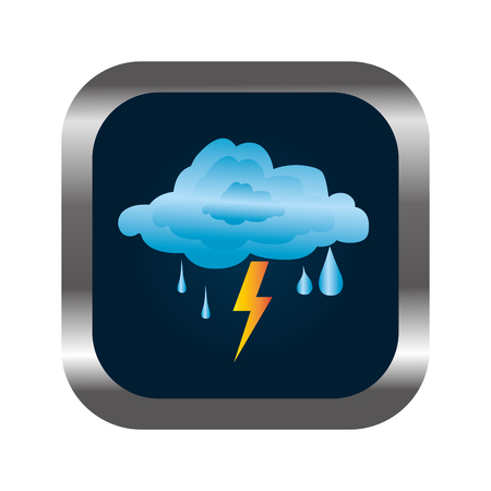 square button with relief and rain storm weather icon vector illustration
