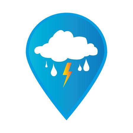 마크 아이콘 포인터 gps 비가 폭풍 날씨 아이콘 벡터 일러스트와 함께