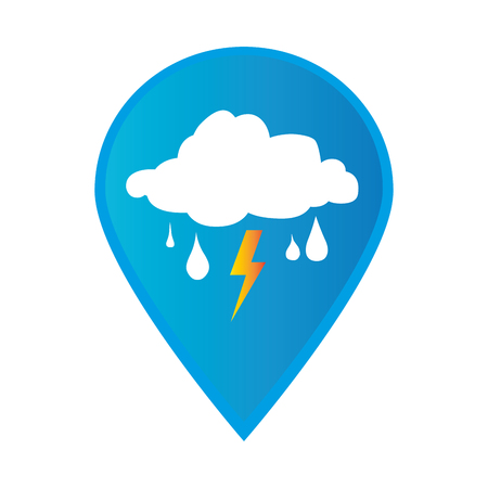 Mark icon pointer gps with rain storm weather icon vector illustration