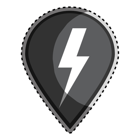 warning indicator: sticker monochrome Mark icon pointer gps with lightning icon vector illustration Illustration