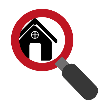magnifying glass with with zoom silhouette house vector illustration