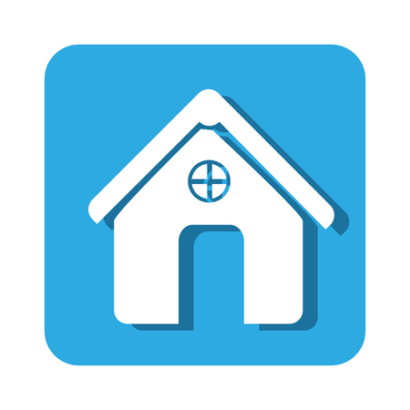 portone: square button simple facade house icon design vector illustration