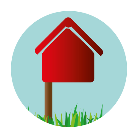 colorful circular frame mailbox in house shape with pole vector illustration Illustration