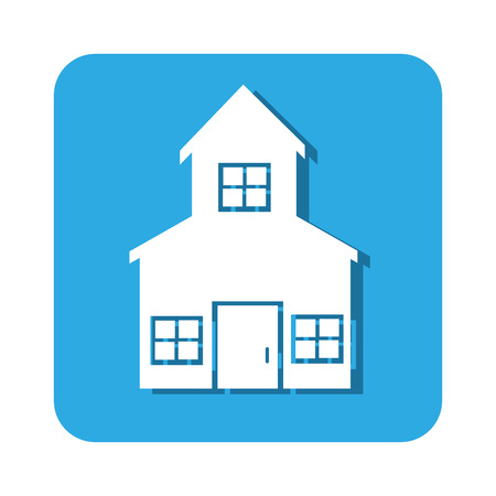 penthouse: square button two floors house icon design vector illustration