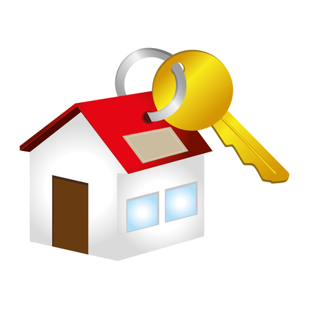 colorful key with key chain in house shape vector illustration Çizim