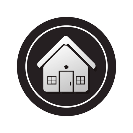 penthouse: monochrome circular button facade house icon design vector illustration