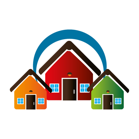 colorful set collection houses icon design vector illustration