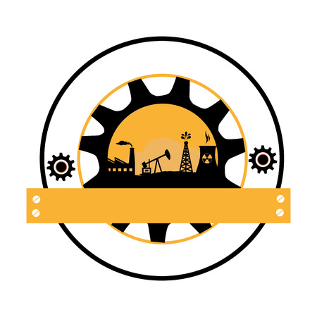 circular border with background gear frame silhouette oil extraction machine with factory radioactive materials with plaque vector illustration