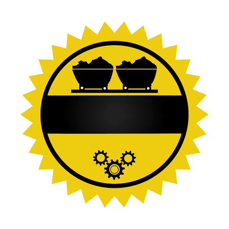 quarry: circular emblem with wagon of mining over rail and gears wheels vector illustration