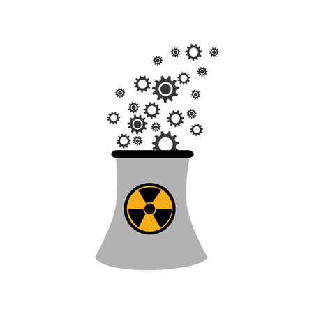 dangerous construction: monochorme silhouette nuclear reactor with hazard symbol vector illustration Illustration