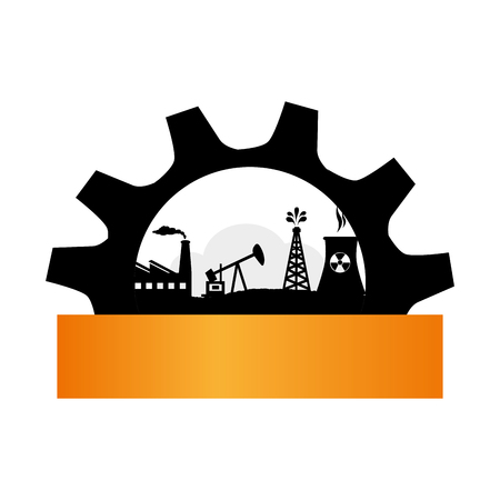 gear wheel, icon, border background silhouette oil extraction machine factory Illustration