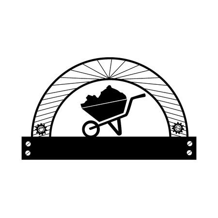 half circular frame with silhouette cartor truck for building vector illustration Illustration