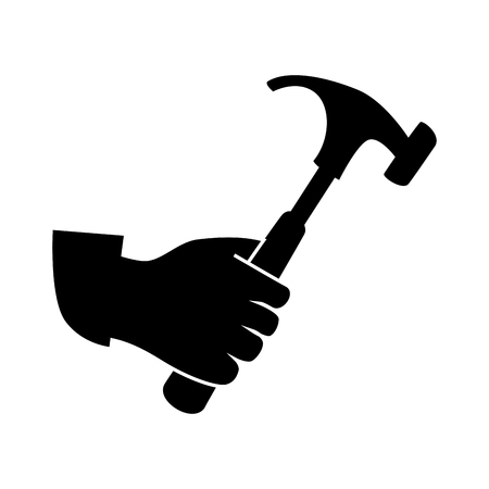 monochrome silhouette with hand and hammer tool vector illustration