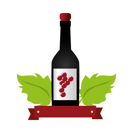 gin: wine bottle with cork and grapes leaves and ribbon vector illustration