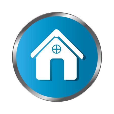 circular border button silhouette simple facade house icon design vector illustration Illustration