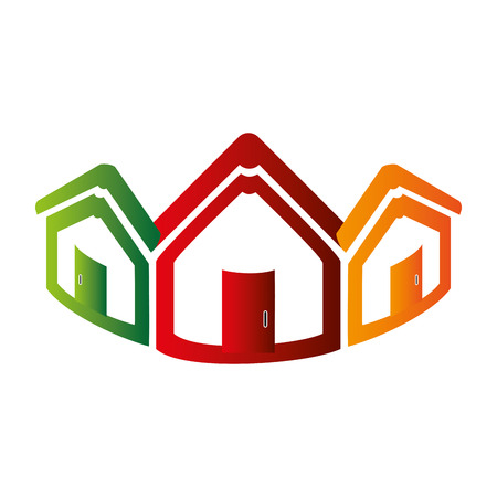 colorful abstract set collection houses icon design vector illustration