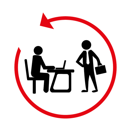 silhouette with manager in office and executive vector illustration