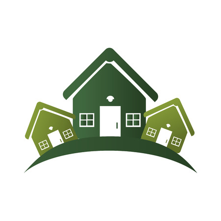 suburban: green silhouette with group of houses vector illustration