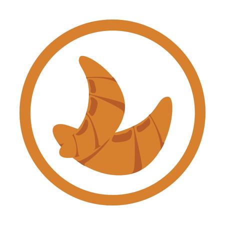クロワッサン パン ベクトル図で円形フレームのカラフルなシルエット