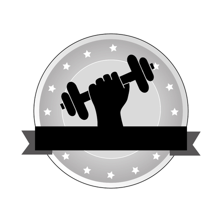 circular emblem with decorative stars and hand holding a dumbbell fwith ribbon vector illustration