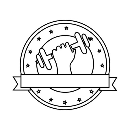 silhouette circular emblem with decorative stars and hand holding a dumbbell fwith ribbon vector illustration