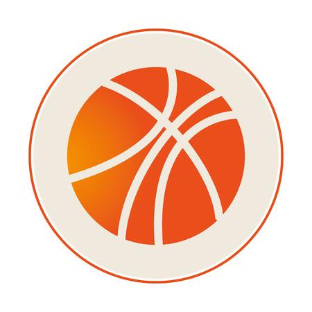 nba: circular border with silhouette color with basketball ball vector illustration Illustration