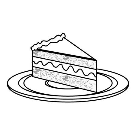 Stück Kuchen Süßer Dessert Bäckerei Zeichnen Vektor Illustration