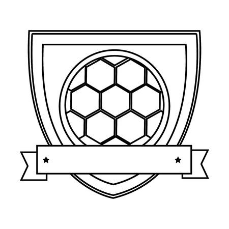 Silhouette Schild mit Band mit Fußball Vektor-Illustration