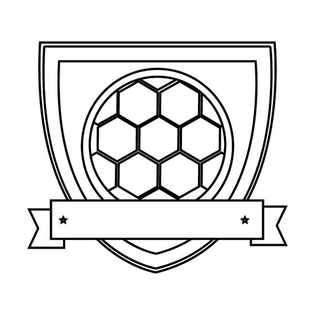 silhouette shield with ribbon with soccer ball vector illustration